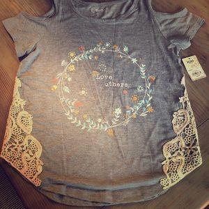"""Girls Peek-a-boo Gray """"Love Others"""" shirt"""